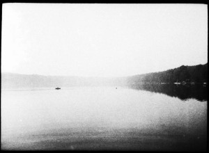 Boat and Swimmer, Highland Lake