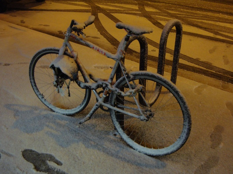 New York Bike in Snow