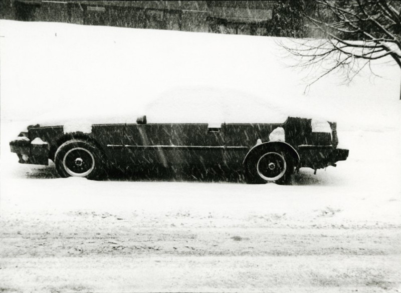 Car with Top Covered with Snow